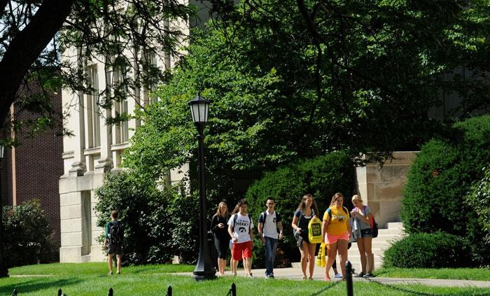 Students walking outside of Schaeffer Hall