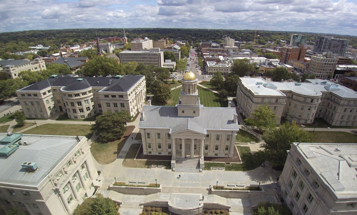 Aerial view of the University of Iowa campus