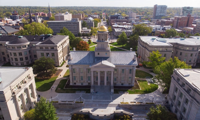 The Old Capitol and Pentacrest on the campus of the University of Iowa.