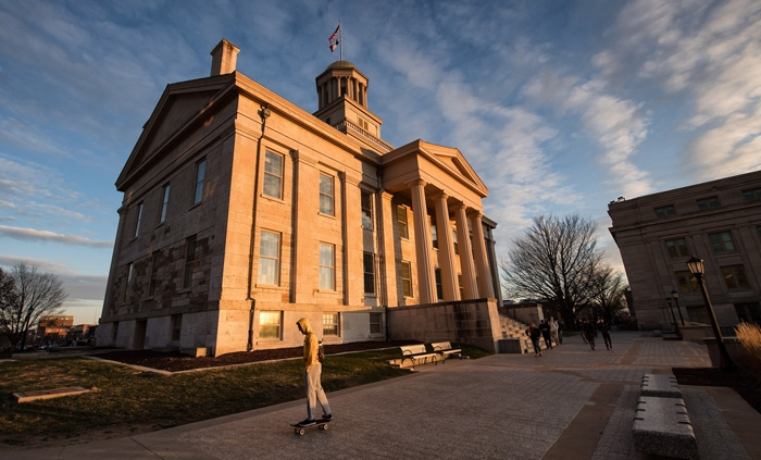 Old Capitol at the University of Iowa at sunset