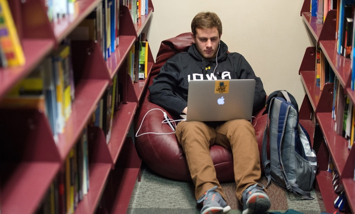 A student working in the library