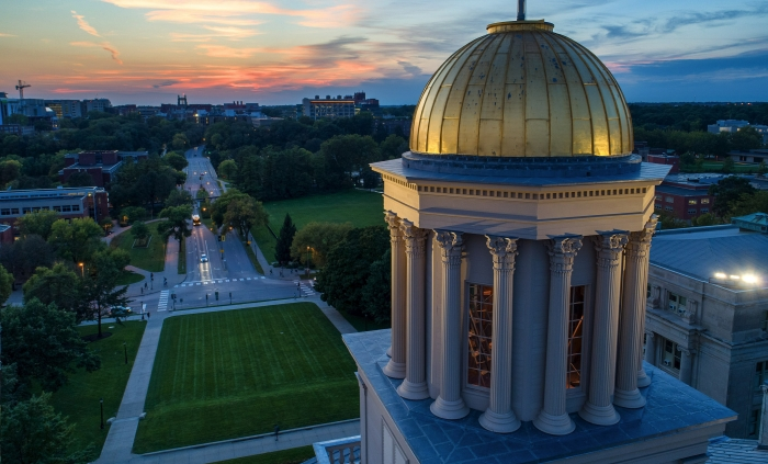 Old Capital Dome at sunset.