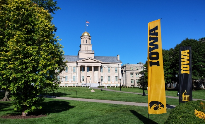 Iowa banners on the Pentacrest.