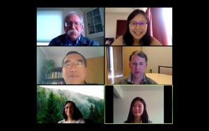 Faculty members in a Zoom online meeting.