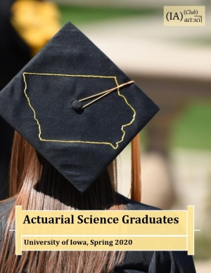Graduation hat with outline of the state of Iowa decorated on top.