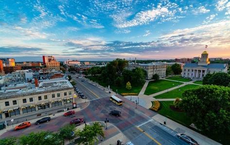 Overhead view of Iowa City.